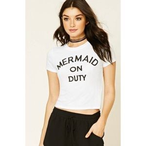 Mermaid on Duty White Tee